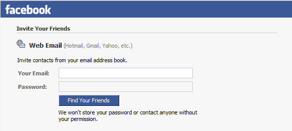 old facebook 'invite your friends' form asking for email and password