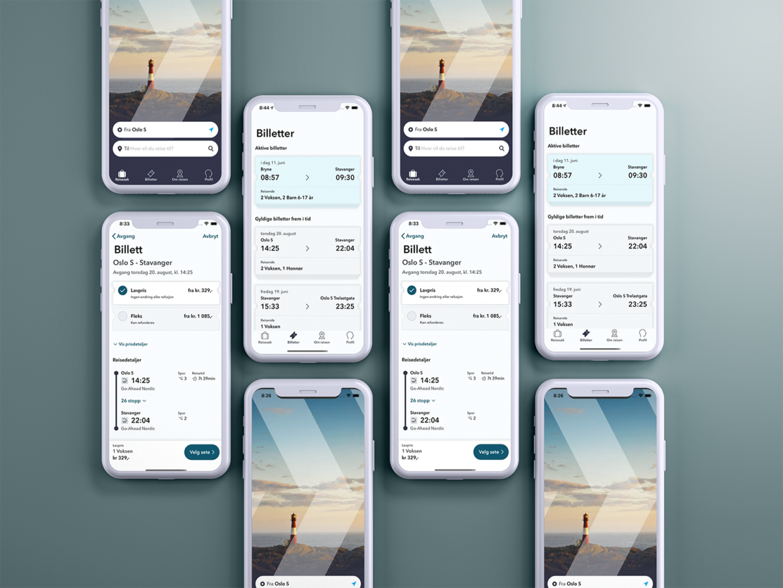Bild på apple telefoner med bilder från appen Go-Ahead
