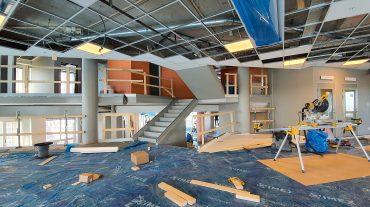 Insidan och trappen som ligger i centrum av de nya lokalerna hos Softhouse